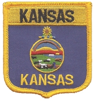 KANSAS medium flag shield uniform or souvenir embroidered patch, KS