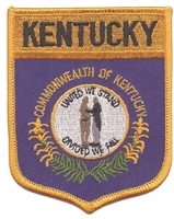 1852 - KENTUCKY large flag shield embroidered patch for souvenir or uniform, KY