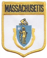 2052 - MASSACHUSETTS large flag shield uniform or souvenir embroidered patch