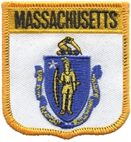 2055 - MASSACHUSETTS medium flag shield uniform or souvenir embroidered patch