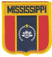 MISSISSIPPI medium flag shield embroidered patch