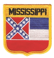 MISSISSIPPI medium flag shield embroidered patch, ms