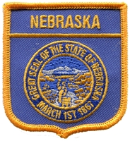 2355 - NEBRASKA medium flag shield souvenir embroidered patch