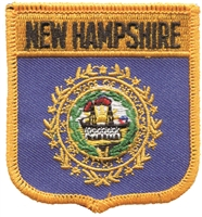 2455 - NEW HAMPSHIRE medium flag shield uniform or souvenir embroidered patch