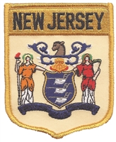 2502 - NEW JERSEY large flag shield uniform or souvenir embroidered patch
