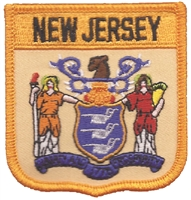 2505 - NEW JERSEY medium flag shield uniform or souvenir embroidered patch