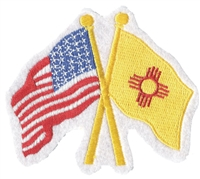 New Mexico & US flags crossed uniform or souvenir embroidered patch