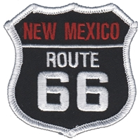 2566-01 - NEW MEXICO ROUTE 66 on black twill souvenir embroidered patch
