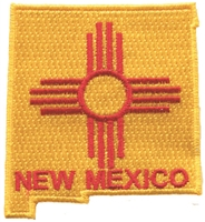 2570 - NEW MEXICO state shape & zia souvenir embroidered patch
