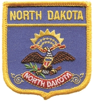 2705 - NORTH DAKOTA medium flag shield uniform or souvenir embroidered patch