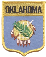 2802 - OKLAHOMA large flag shield uniform or souvenir embroidered patch