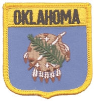2805 - OKLAHOMA medium flag shield uniform or souvenir embroidered patch