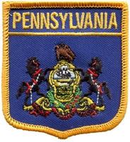 PENNSYLVANIA medium flag shield souvenir embroidered patch, PA