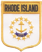 2952 - RHODE ISLAND large flag shield uniform or souvenir embroidered patch