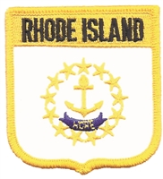 2955 - RHODE ISLAND medium flag shield uniform or souvenir embroidered patch