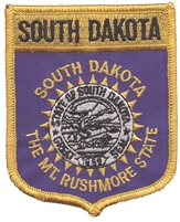 SOUTH DAKOTA large flag shield uniform or souvenir embroidered patch, SD