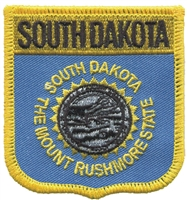 SD, SOUTH DAKOTA medium flag shield uniform or souvenir embroidered patch