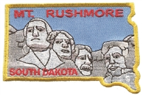 MT. RUSHMORE SOUTH DAKOTA state shape souvenir embroidered patch.