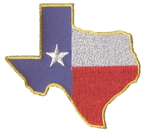 "3157 - TEXAS state shape embroidered souvenir patch. 3"" tall x 3.125"" wide. Patches have an iron-on backing & are carded for a display rack."