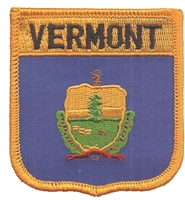 3255 - VERMONT medium flag shield uniform or souvenir embroidered patch