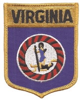 VIRGINIA large flag shield uniform or souvenir embroidered patch, VA