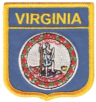 VIRGINIA medium flag shield embroidered patch, VA