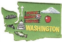 WASHINGTON state shape map embroidered souvenir patch with: Mt Rainier, Pike Place Market, Space Needle, ferry, salmon, apple, & Capital dome.