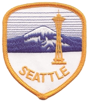 SEATTLE space needle & Mt. Rainier shield souvenir embroidered patch.