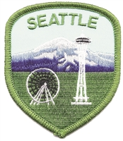 "SEATTLE space needle, ferris wheel, & Mt. Rainier shield souvenir embroidered patch. 2.5"" wide x 3"" tall. Patches are carded for a retail display for stores."
