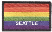 3399-01 - SEATTLE rainbow flag, black border embroidered patch