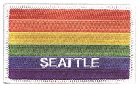 3399-39 - SEATTLE rainbow flag, white border embroidered patch