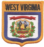 3405 - WEST VIRGINIA medium flag shield souvenir or uniform embroidered patch