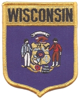 3452 - WISCONSIN large flag shield uniform or souvenir embroidered patch