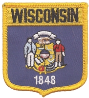 3455 - WISCONSIN medium flag shield uniform or souvenir embroidered patch