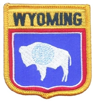 WYOMING medium flag shield uniform or souvenir embroidered patch