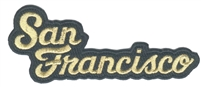 San Francisco script: metallic gold on black souvenir embroidered patch