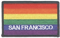 4059-01 - SAN FRANCISCO rainbow flag black border embroidered patch