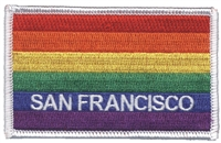 4059-39 - SAN FRANCISCO rainbow flag, white border embroidered patch