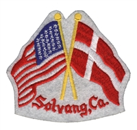 4554 - Solvang, Ca. - USA x Denmark flags souvenir embroidered patch