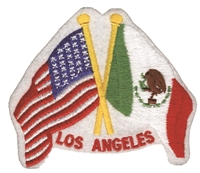 4605 - LOS ANGELES - US x Mexico flags souvenir embroidered patch
