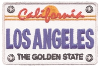 LOS ANGELES license plate souvenir embroidered patch