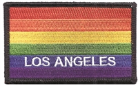 LOS ANGELES rainbow flag, black border embroidered patch