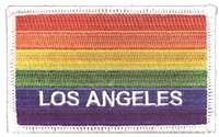 LOS ANGELES rainbow flag, white border embroidered patch