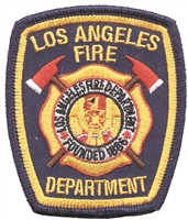 "4629 - LOS ANGELES FIRE DEPARTMENT souvenir embroidered patch. 3.25"" tall x 2.75"" wide. Patches have an iron-on backing & are carded for a display rack for retailers."