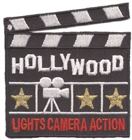 HOLLYWOOD LIGHTS CAMERA ACTION clapper souvenir embroidered patch