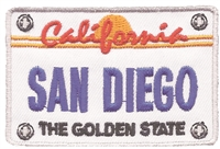 4708 - SAN DIEGO license plate souvenir embroidered patch