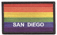 SAN DIEGO rainbow gay pride flag black border souvenir embroidered patch