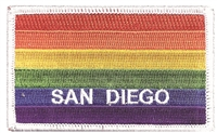 SAN DIEGO rainbow gay pride flag - white border - embroidered patch