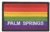 PALM SPRINGS rainbow flag, black border souvenir embroidered patch