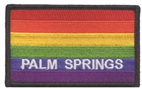 4752-01 - PALM SPRINGS rainbow flag, black border souvenir embroidered patch